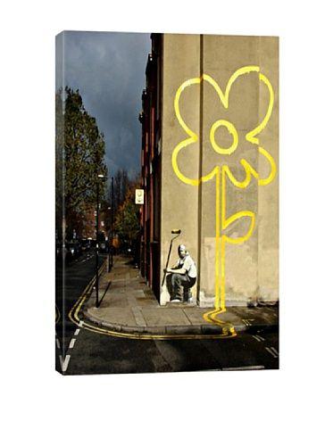 Banksy Yellow Lines Flower Painter Ultrachrome Canvas Print | Women ...