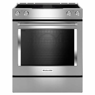 This Kitchenaid All In One Electric Range Includes Downdraft Which Integrates The Ventilation System So A Separate Slide In Range Convection Range Kitchen Aid