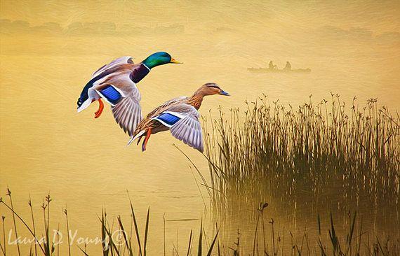 Mallard Ducks Flying, Mallard Duck Art Print, Bird Wall Art, Bird ...