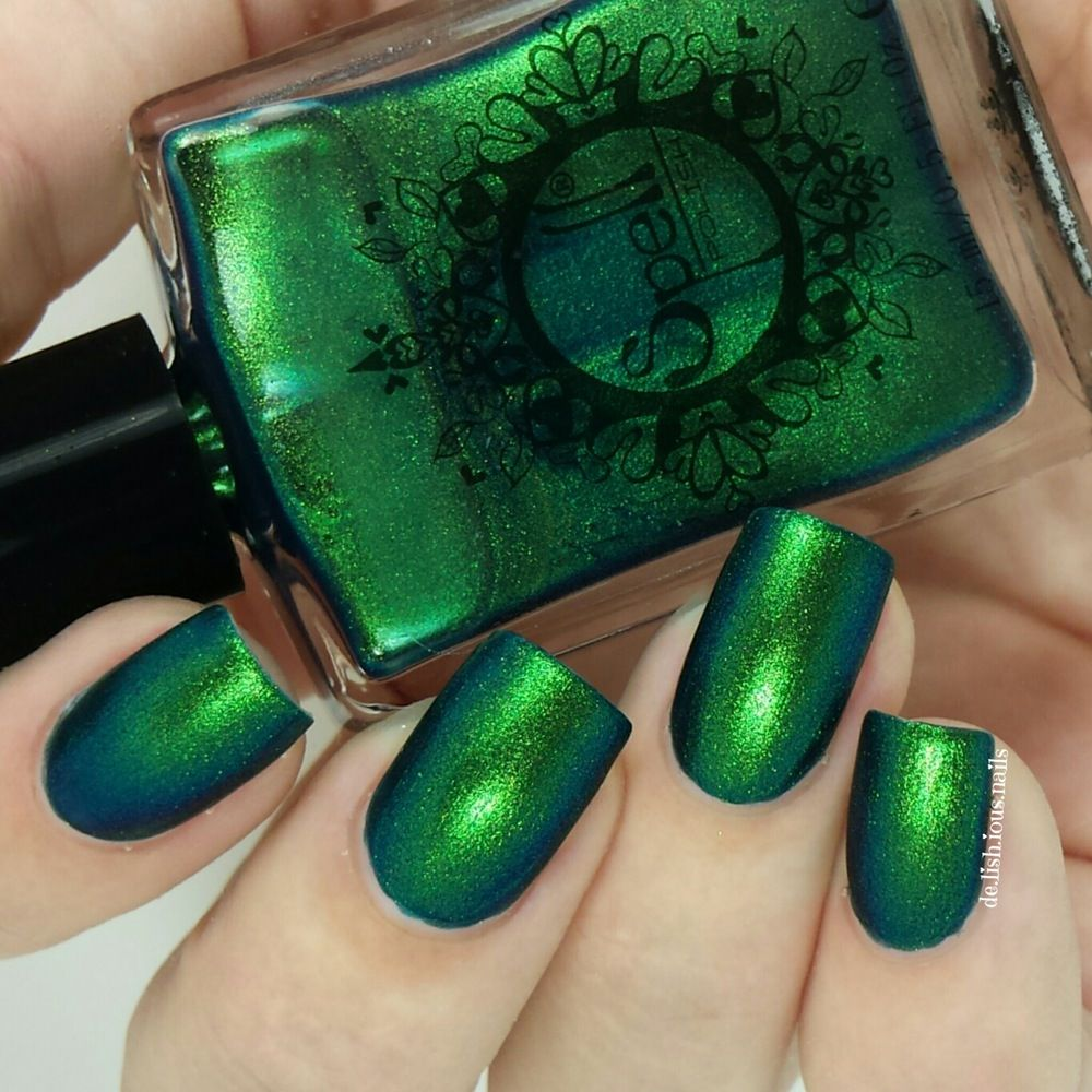 Image of ~ Clodhopper~ emerald green/yellow duochrome Spell nail ...