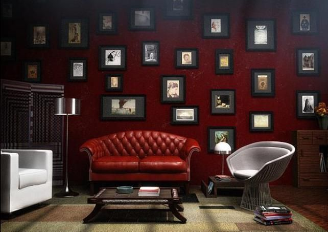 Dark Red Living Room By Hata Mari Living Room Red Red Rooms