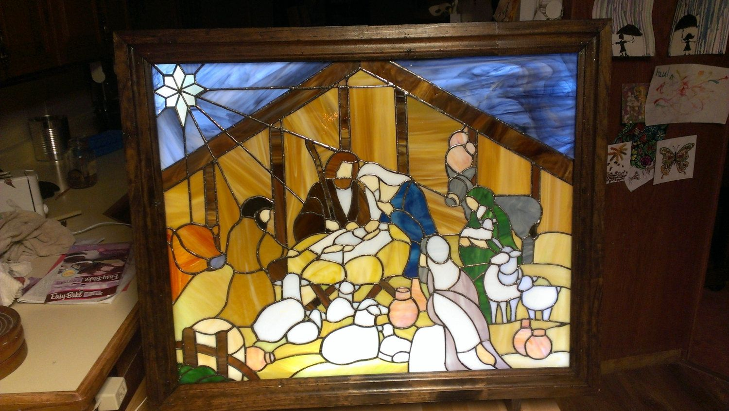 Stained Glass Nativity Panel in a Light Box Frame & Stand   Panel ...