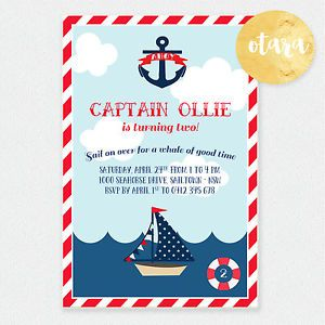 Nautical Ahoy Sailor Personalised Birthday Party Invites Invitation With Magnet Anniversaire