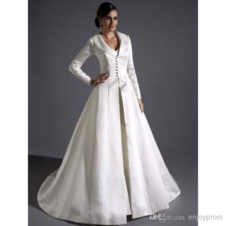 Bridal Satin Full Length Coats,Gracie Bleu Long Sleeves A-line ...