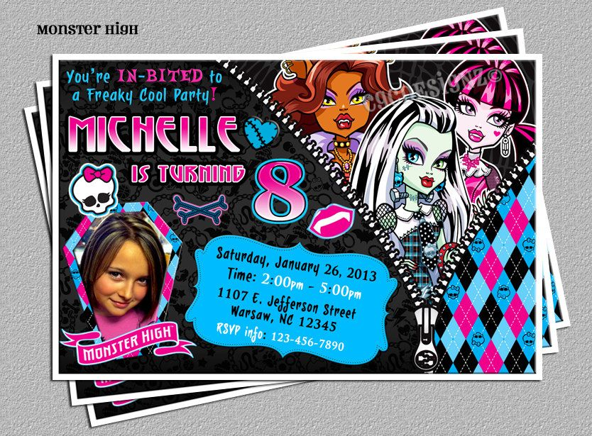 Monster High Birthday Party Photo Invitation -Includes FREE Thank ...