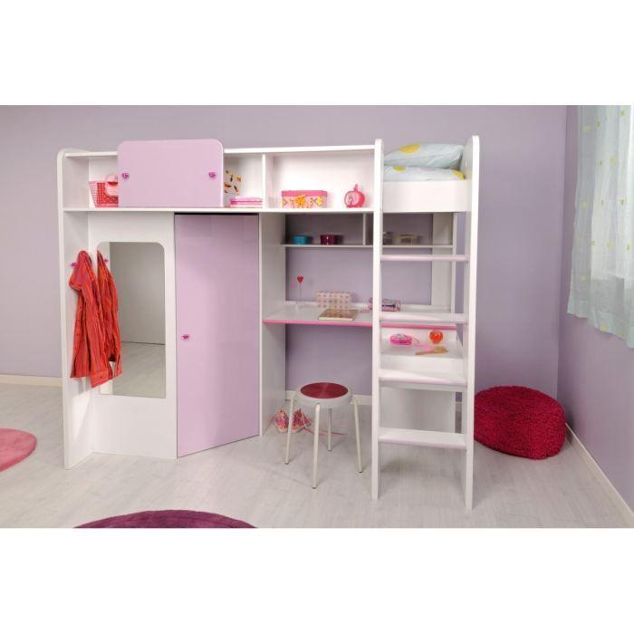 Lit mezzanine ladys lit enfant sur lev couchage 90 x 200 cm lit combin - Mezzanine bureau enfant ...