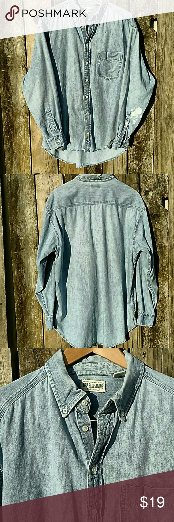Sale! GAP JEANS Denim Work Shirt sz Large Faded denim, this button down is worn in perfection. Size large. Light denim. GAP Tops Button Down Shirts