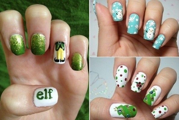 Elf, tree & Snowman ideas 4 nails
