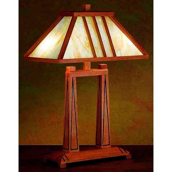 Mission Prairie Tiffany Wood Dual Post Lamp Craftsman Floor Lamps Craftsman Lamps Wood Floor Lamp