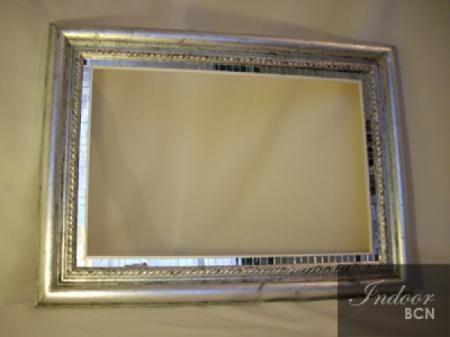 En pan de plata con efecto envejecido y mosaicos de cristal alrededor del passepartout marco - Espejos marco plateado ...
