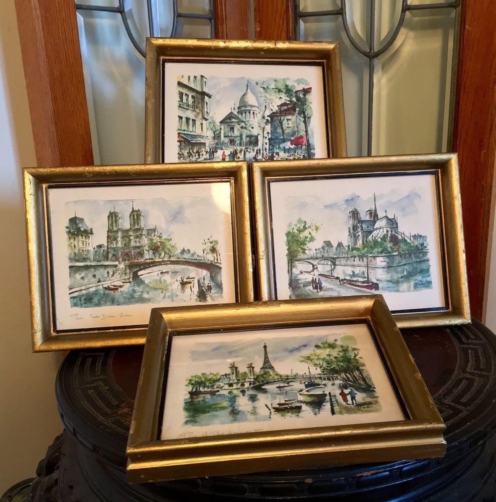 Vintage Set of 4 Beautiful Paris Watercolor Prints Framed Signed Zoe ...