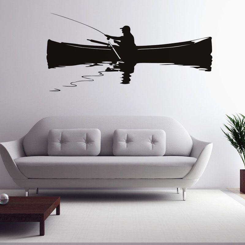 Retro home decor muurschildering een man vissen op de boot ...