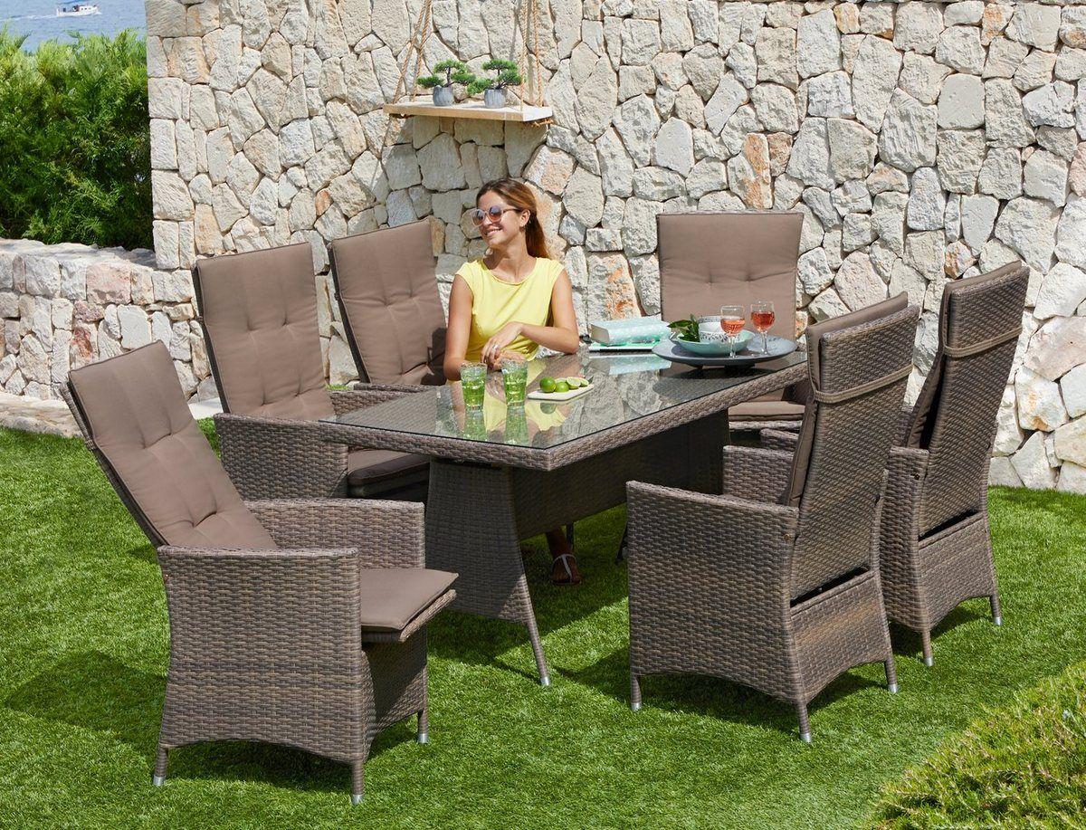 Gartenmobelset Valencia 13 Tlg 6 Relaxsessel Tisch 150x80 Cm