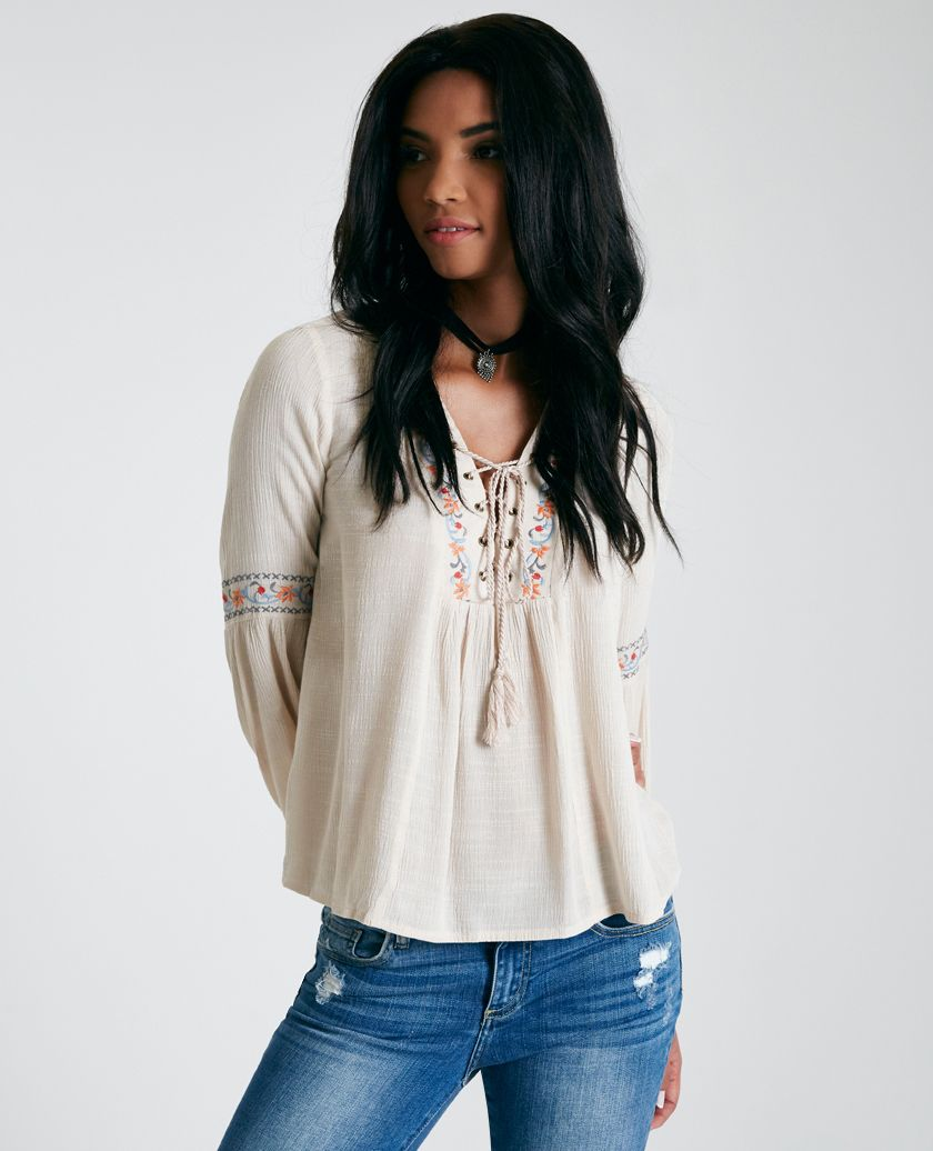 Lace-Up Embroidered Blouse With Bell Sleeves Lace-Up Embroidered Blouse With Bell Sleeves