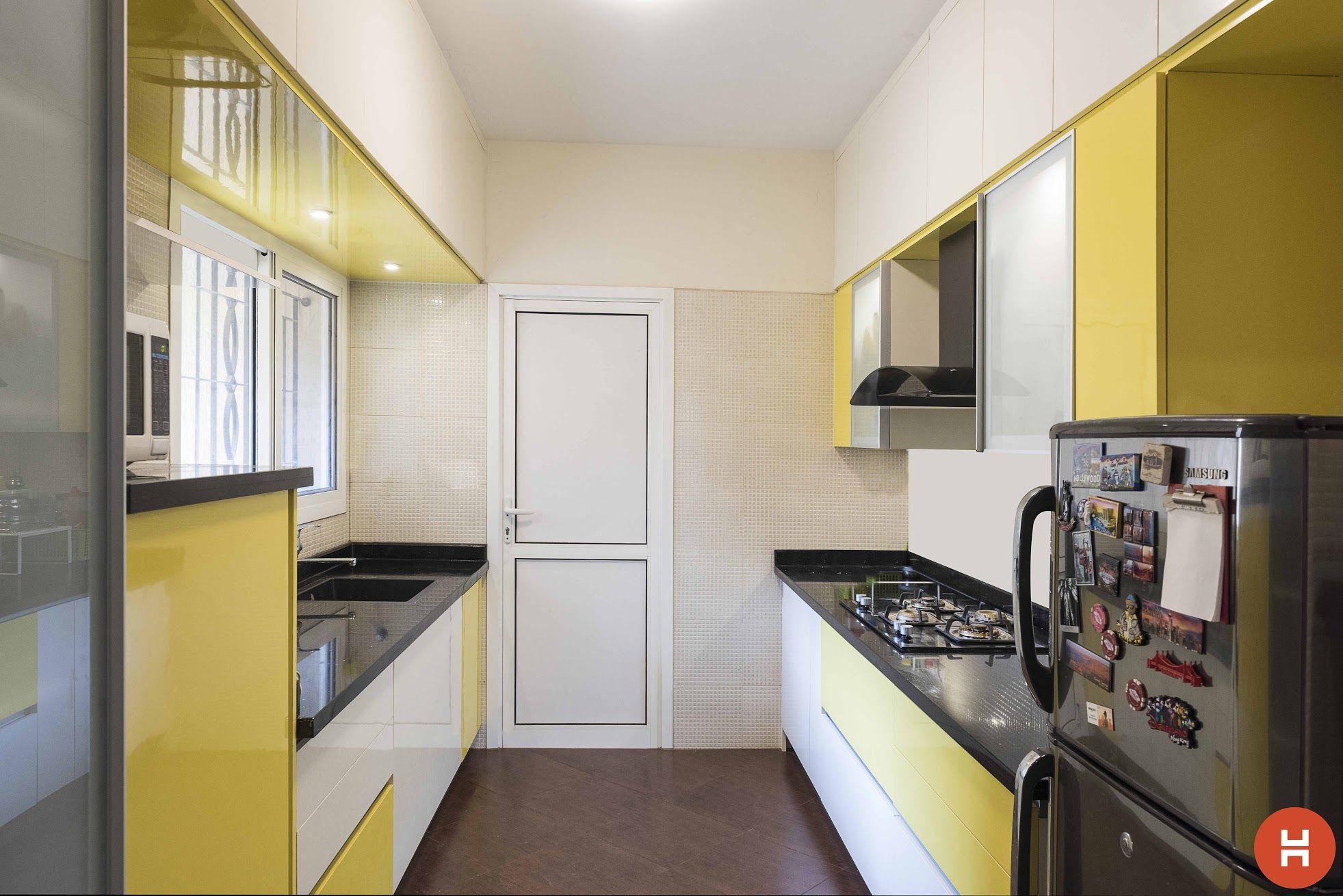 Green modular kitchen designs   Parallel shaped Modular kitchen ...