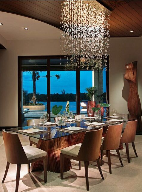 Rain Chandelier Over Dining Table