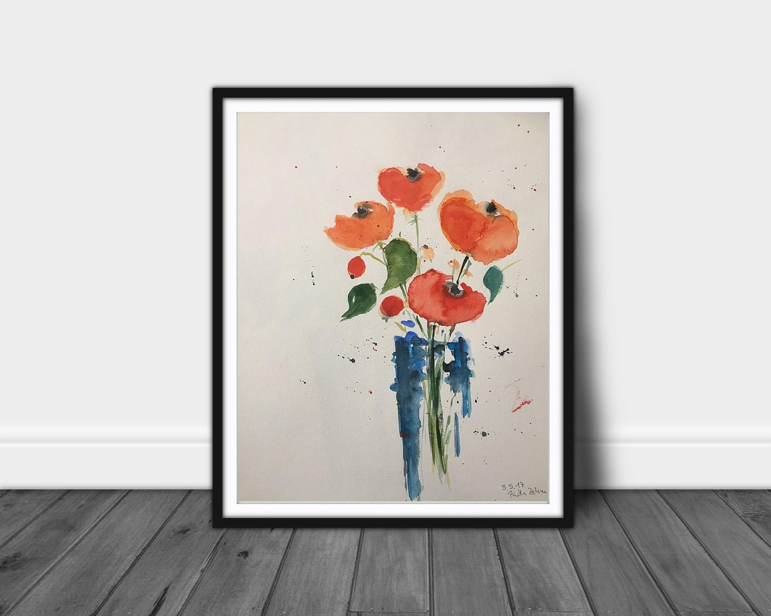 Original Aquarell Aquarellmalerei Bild Kunst Mohnblumen Blumen
