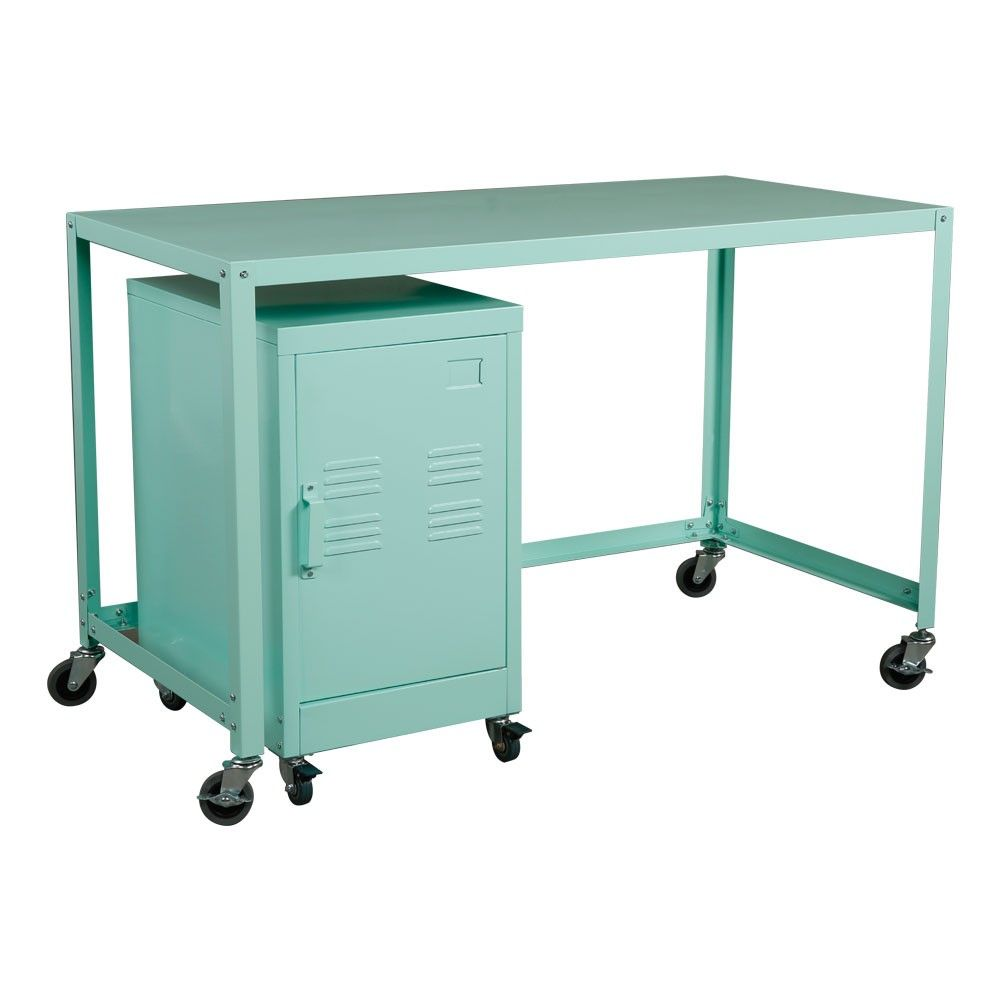 Industrial Collection Metal Rolling Desk/Cabinet Set - Mint. This ...