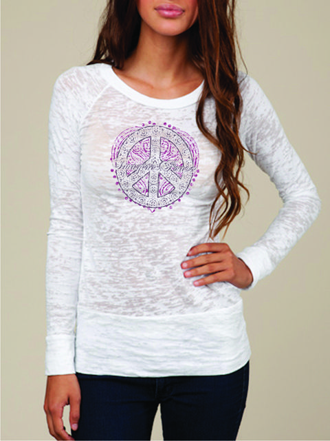 # 20241: Imagine Peace-Wt l/s with steel and dark grape peace (MSRP $52) SOLD OUT