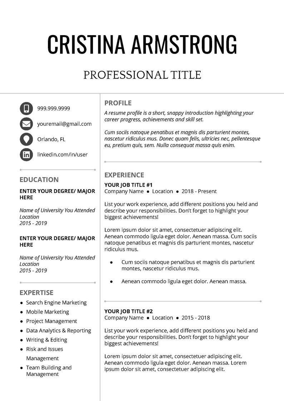 Professional Resume Template Creative Resume Template