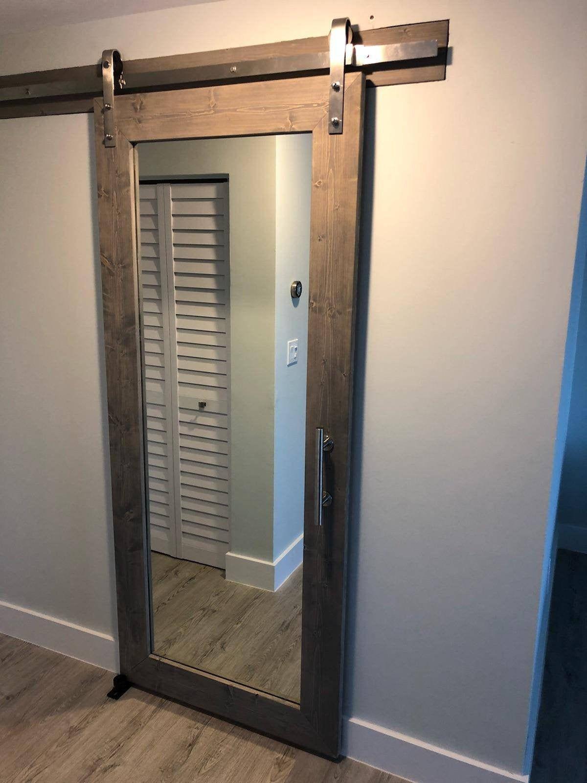 Classic Gray Rustic Mirrored Sliding Barn Door 36 X 84 Sliding Bathroom Doors Barn Door Designs Closet Door Makeover