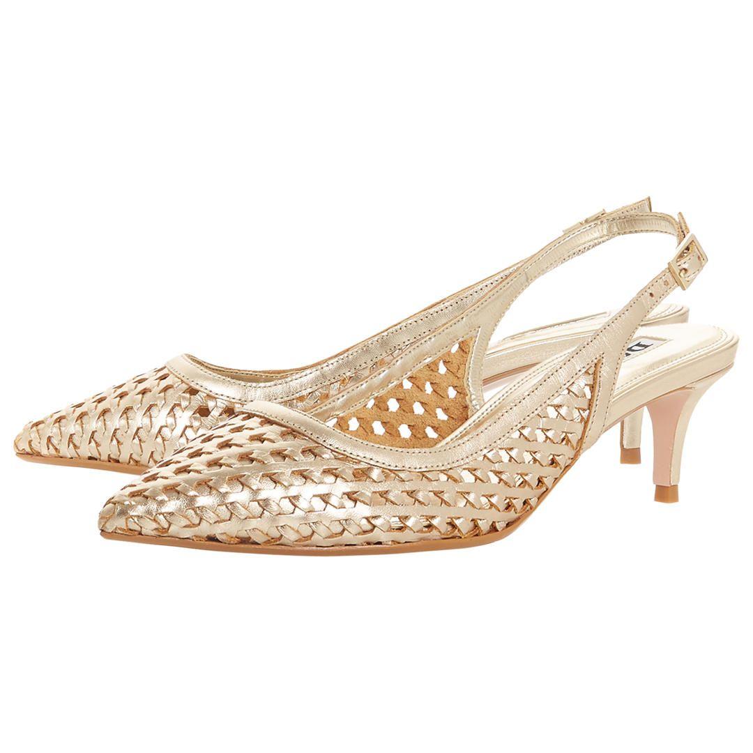 Buydune Crochet Kitten Heel Slingback Court Shoes Gold Leather 3 Online At Johnlewis Com Heels Kitten Heels Slingback