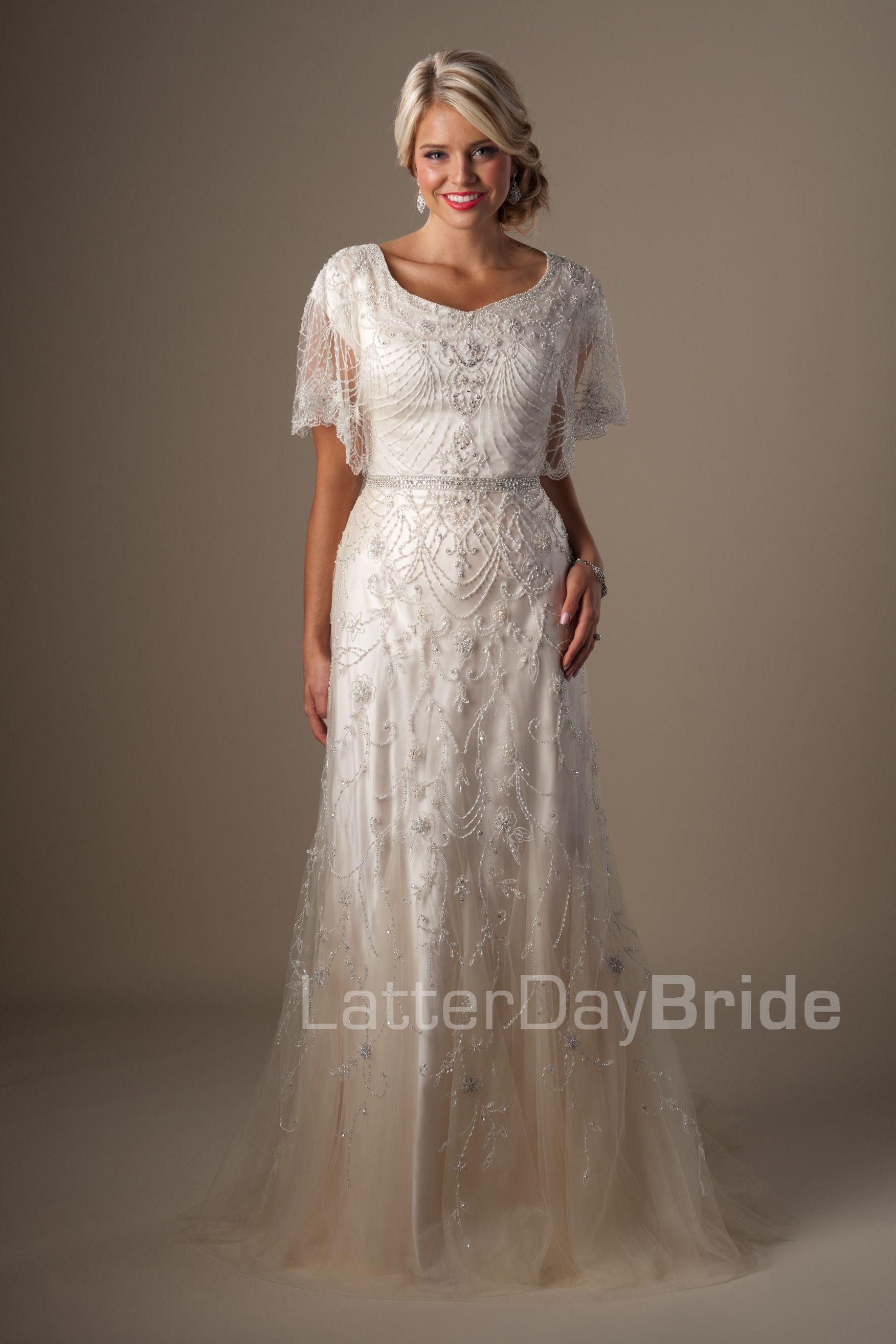 Modest wedding dresses penelope available at latterday for Wedding dress rental philadelphia