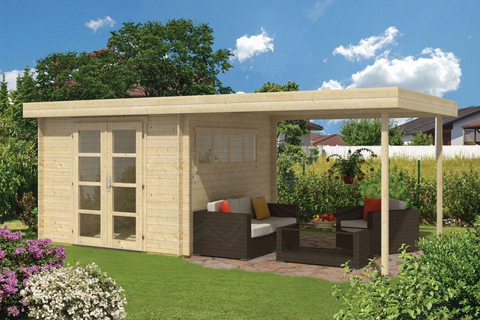 Kaufen Sie das 5Eck Gartenhaus Rhein40 mit Anbau & 2