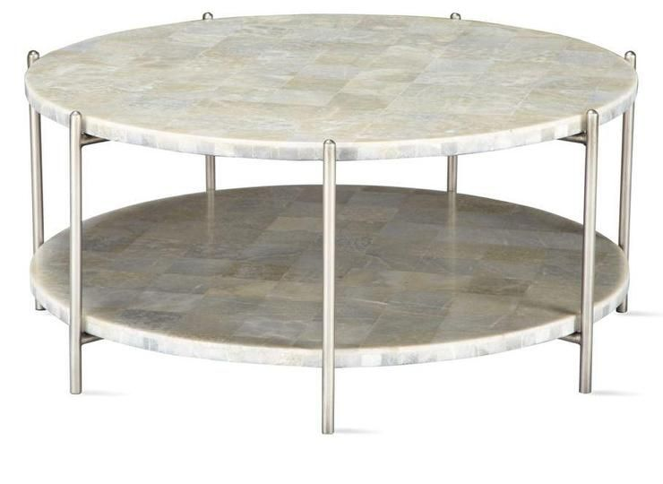 White Round Two Tier Coffee Table