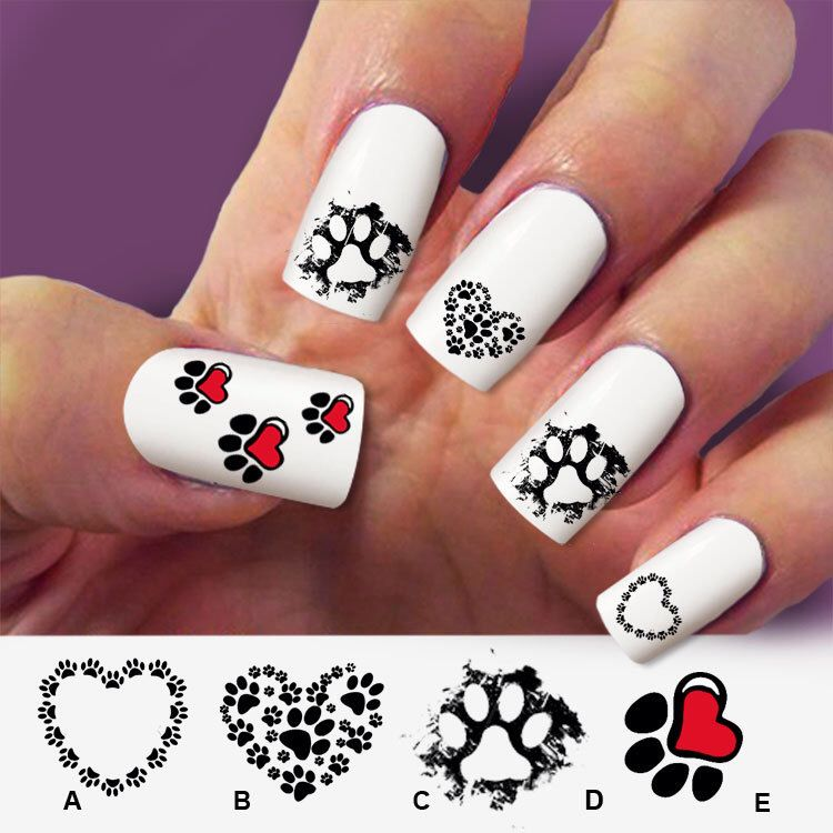 Paw cat, paw dog, nail art, 60 nail decals, Nail Art design, Water ...