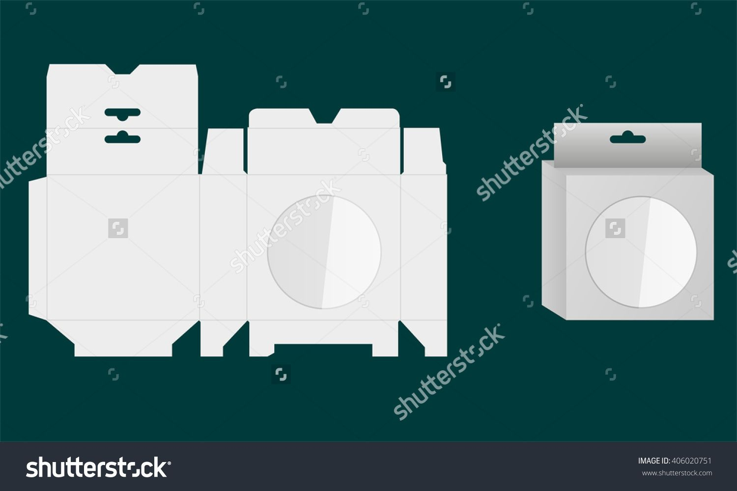 Ready Box Design with Shelf Hanging Holes and Die cut Layout. Blueprint design. Illustrated vector. White Product Package Box With Window.