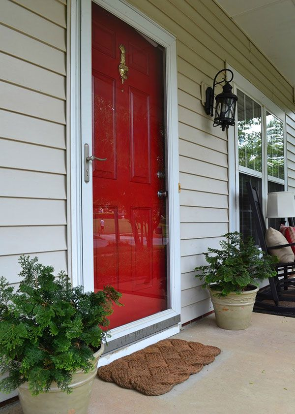 Red Front Door Makeover With Non Fading Front Door Paint Project