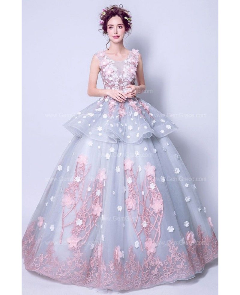 bf259125167 Fairy Grey With Pink Flower Quinceanera Prom Dress Ball Gown ...