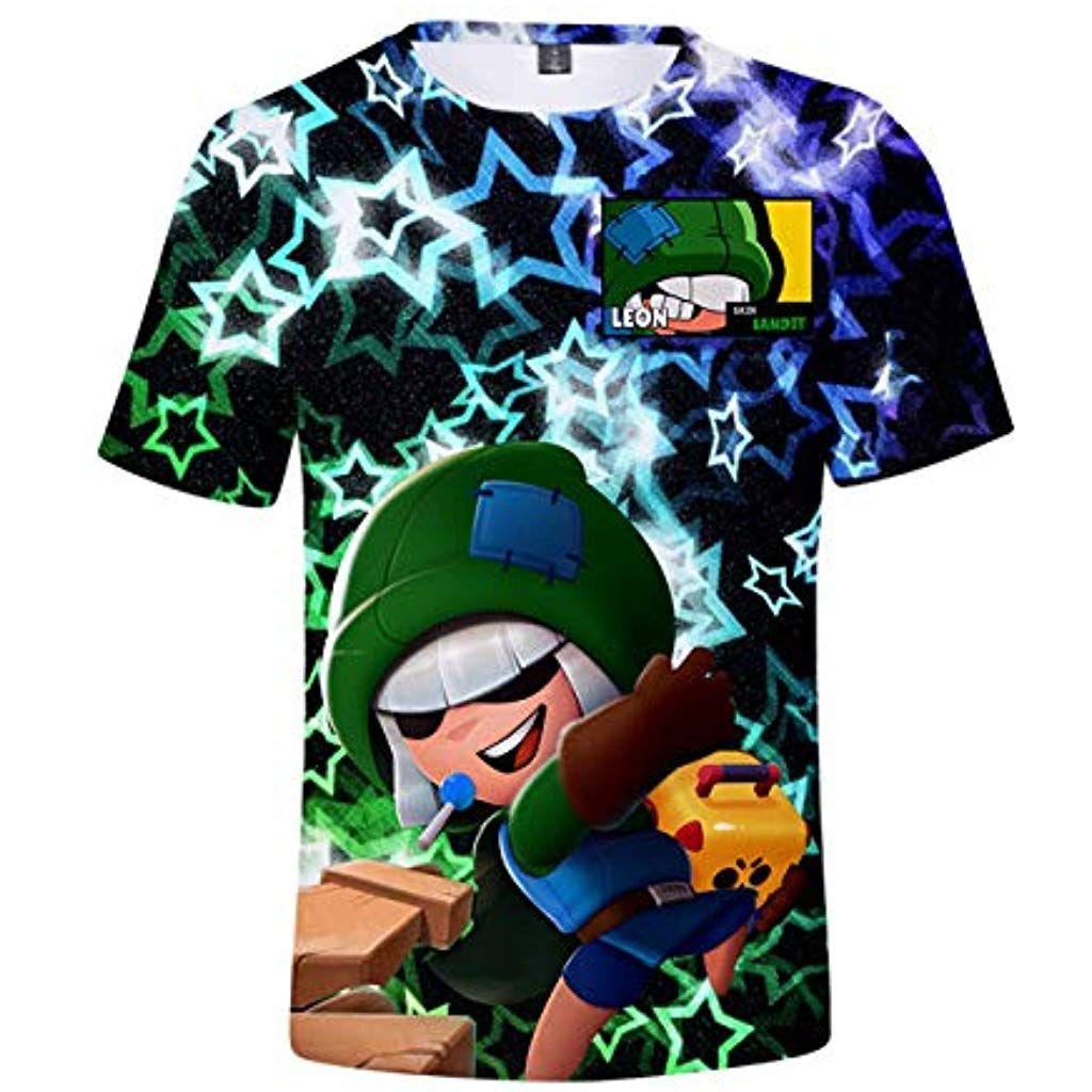 Elegante Bambini Maglietta Brawl Stars Maniche Corte Maglia con Stampa 3D Tinta Unita Estate Tee T-Shirt Casuale Camicia Tops Camicetta Blusa Maglietta da Ragazzo Ragazza