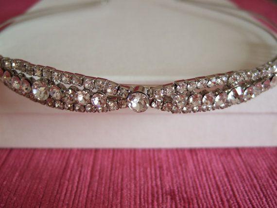 50% OFF Crystal & Silver vintage Tiara Rhodium plated. Head dress / Bridal Tiara / Special Occasion / WeddingTiara / Prom Tiara