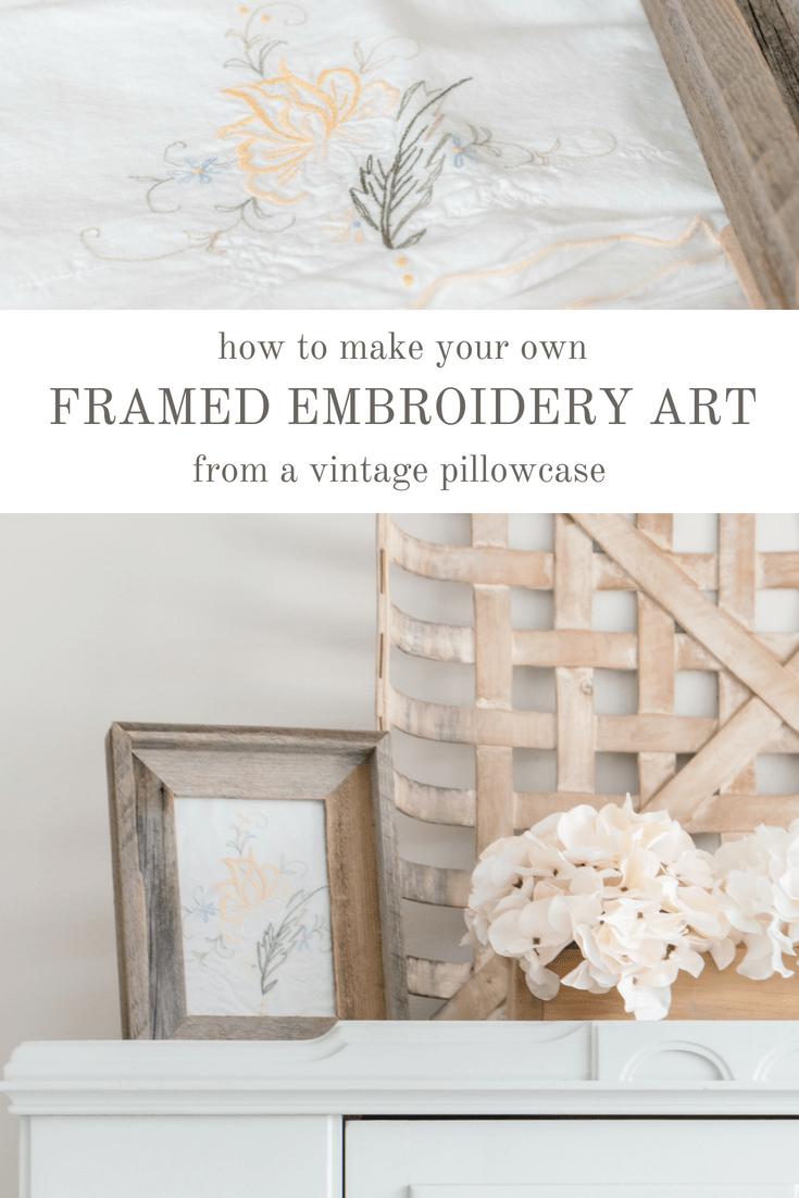 French Vintage Inspired Framed Embroidery Art With Images Framed Embroidery Embroidery Wall Art Frame Decor
