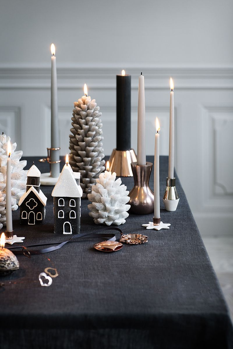 Black, copper, white. Linen, candles, then maybe some brown paper and white paper bags.