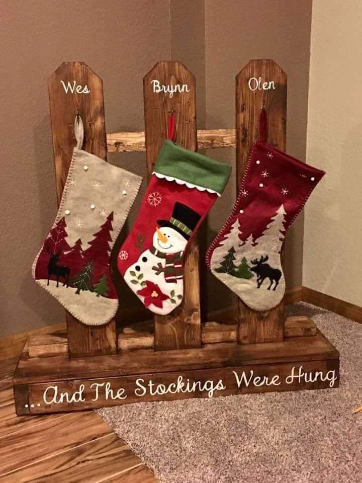 And The Stocking Were Hung Wooden Christmas Crafts Christmas