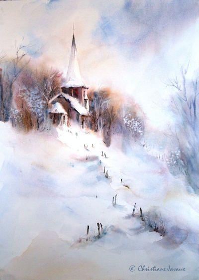628 Winter Kapelle Paysage Pastel Paysage Arbre Aquarelle