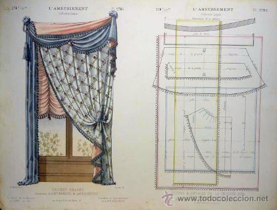 Litografía francesa siglo xix acuarelada a mano cortinas decoración
