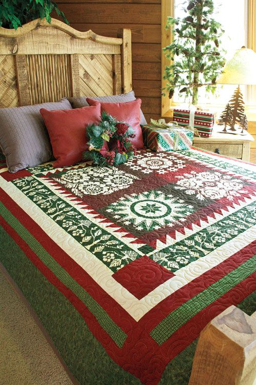 Alpine Tradition panel quilt by Lynette Jensen of Thimbleberries featuring fabrics from Old World Christmas. Photo courtesy of McCall's Quick Quilts December 2012.