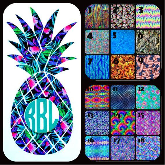 Pineapple Initials Monogram Cup Laptops COLORS Car Window Vinyl Decal Sticker v2