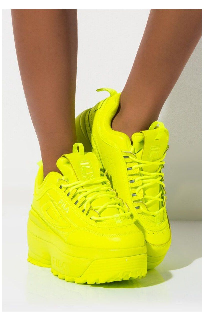 Fila Neon Platform Wedge Lace Up Chunky Sneaker In Safety Yellow Yellow Fila Shoes Side View Fila Womens Disruptor I Neon Shoes Sneakers Fashion Girly Shoes