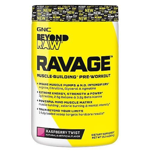 Gnc Beyond Raw Ravage Raspberry Twist 434 G Pre Workout Nitric