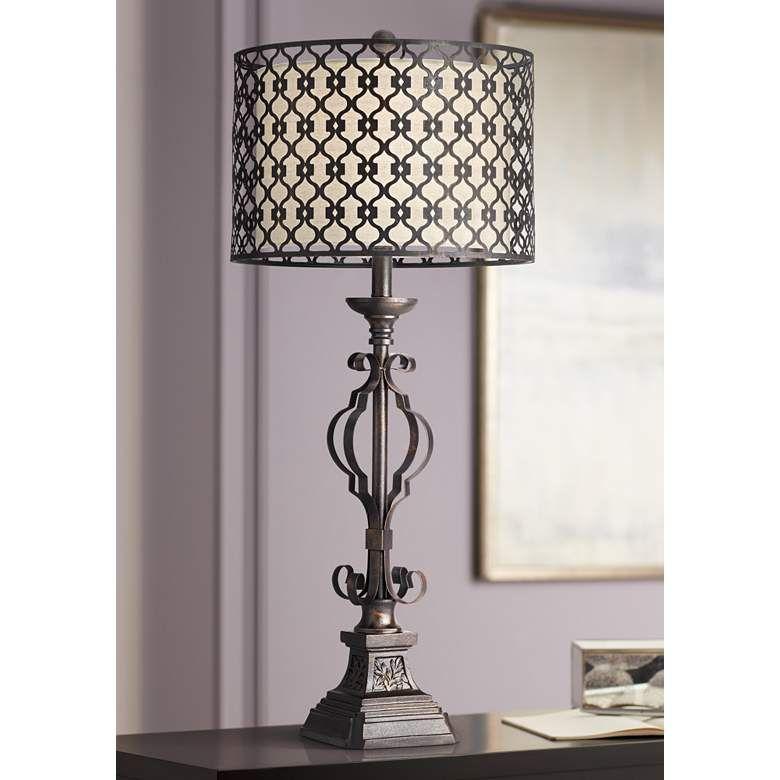Possini Euro Noir Metal Cutout Shade Console Table Lamp 79g47 Lamps Plus Console Table Lamp Table Lamp Metal Drum Shade