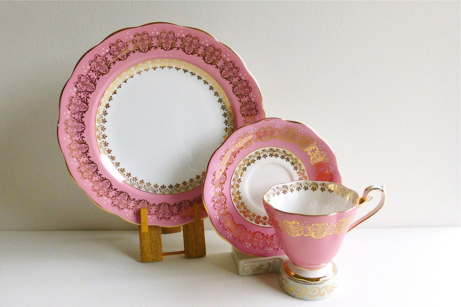 Vintage Royal Standard Bone China Teacup Trio. Pink, Gold & White, Made in England. Perfect for a Vintage Tea Party, Gift or Styling Prop by VintageTeaTreasures on Etsy