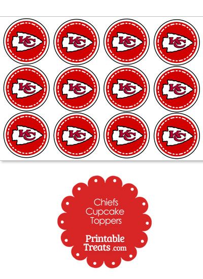 Printable Chiefs Logo Cupcake Toppers from PrintableTreats ...