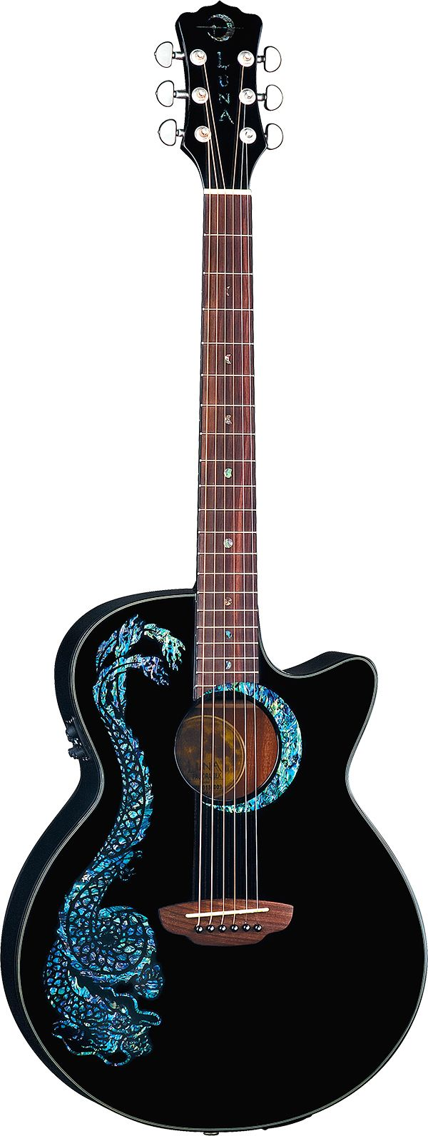 luna guitars fauna dragon acoustic electric guitar luna guitars fauna series guitar. Black Bedroom Furniture Sets. Home Design Ideas
