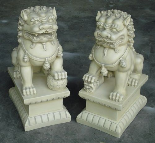 Merveilleux 2 Large Asian Foo Dogs Fu Dog Stone Resin Garden Statues Indoor Outdoor  Lions | EBay