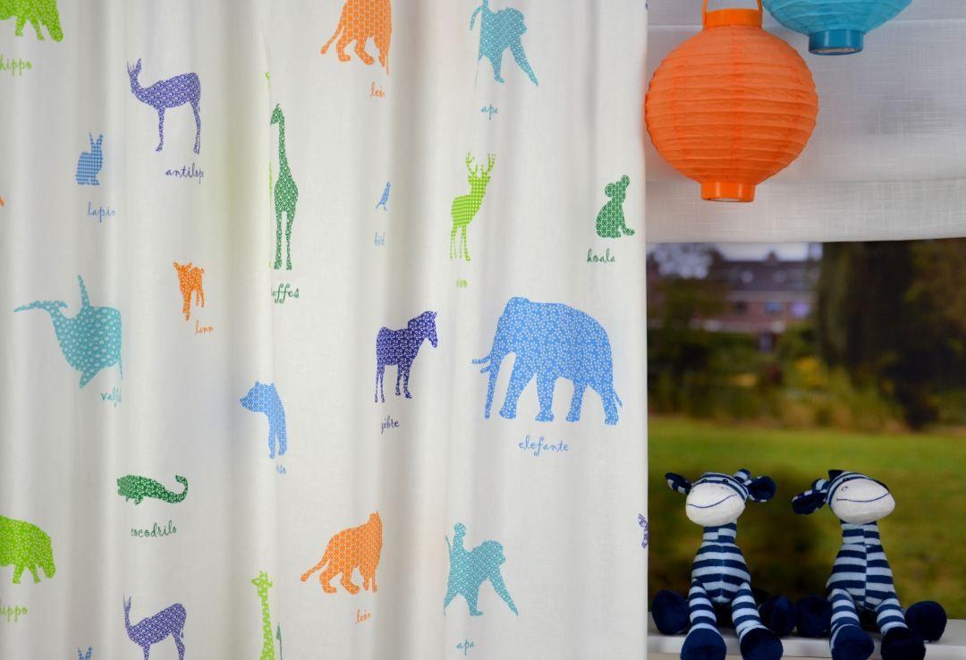 Babykamer Gordijnen Groen : Blauw groen oranje gordijn animals est. animals 187302 multi